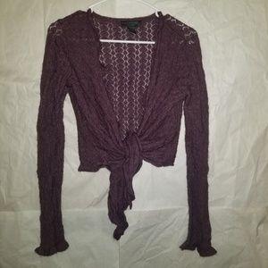 Express Angora and Lamb Wool Shrug Sweater Maroon